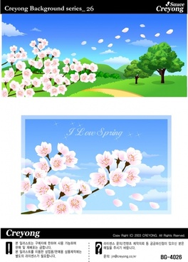 spring background sets cherry blossom icons colorful design