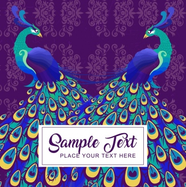 peacock couple backdrop multicolored classical design