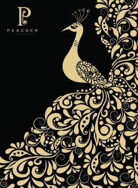 peacock painting classical dark design curves decor