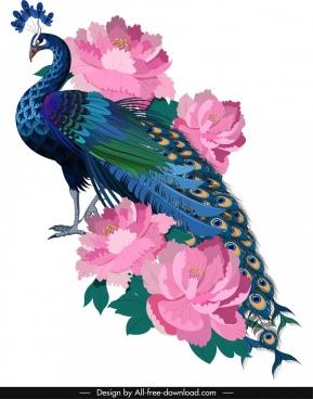 peacock painting colorful elegant sketch blooming flowers decor