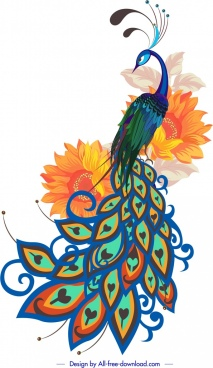 peacock painting colorful handdrawn sketch petals decor