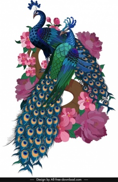 peacock painting couple blooming floral icons sketch