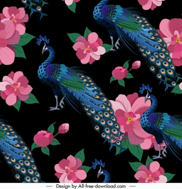 peacock pattern colorful classical repeating design flowers decor
