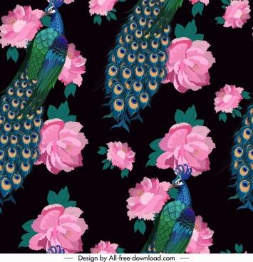 peacocks pattern dark colorful elegant decor repeating design