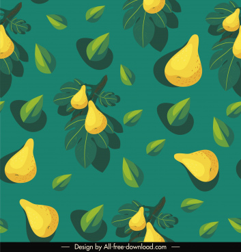 pear fruit background colored classical flat design