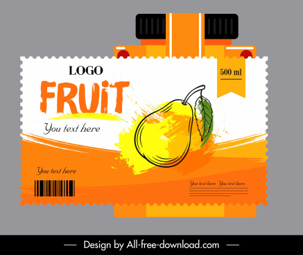 pear juice label template colored grungy handdrawn sketch