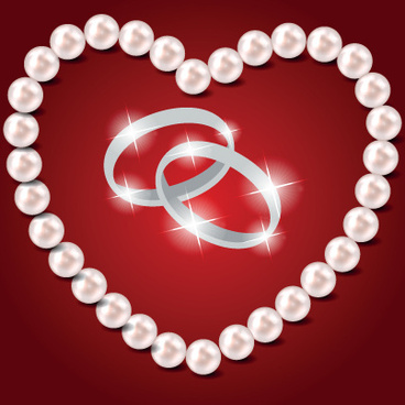 pearl heart and wedding rings vector