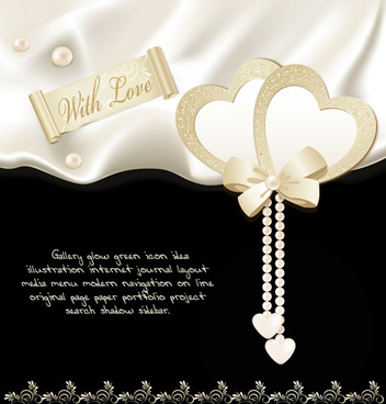 pearl jewelry with heart ornate card vector