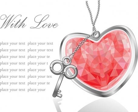 romance banner diamond medal lock chain icons decor