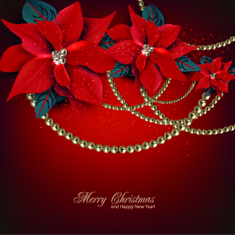 pearls and flowers christmas vector background