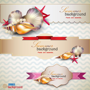 pearls and seashells elements label vector