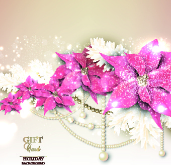 pearls with flowers holiday background vector