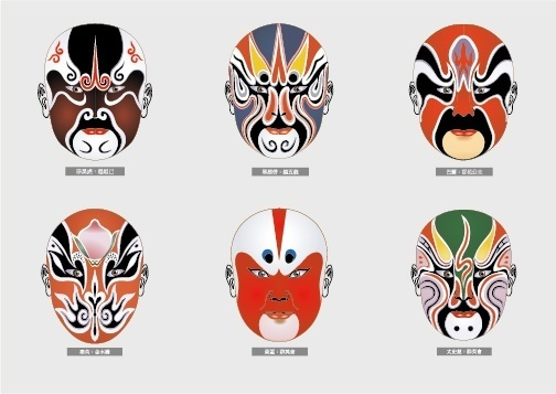 peking opera make ups vector