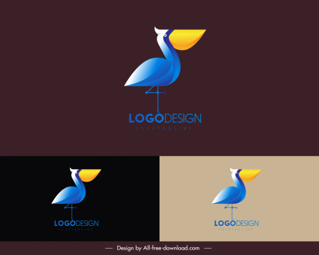 pelican logo template colorful flat design