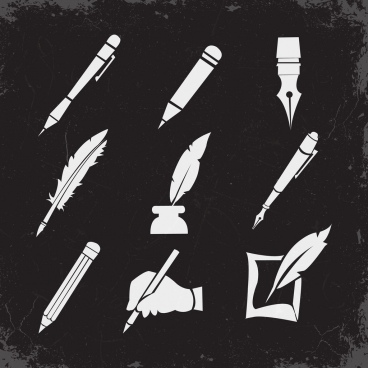 pen icons collection black white retro design