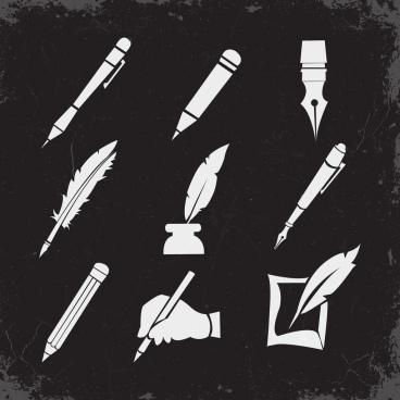 pen icons collection black white retro design