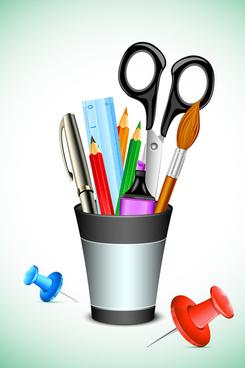 pen office accessories vector set