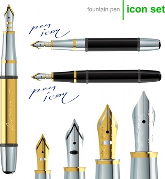 fountain pen icon sets elegant shiny modern design
