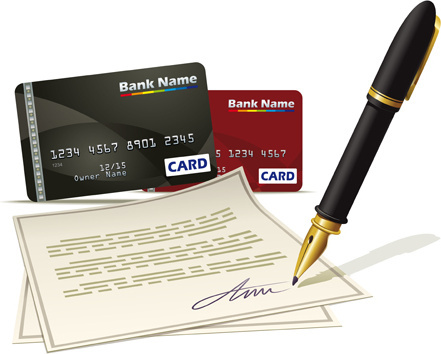 pen with credit card creative vector