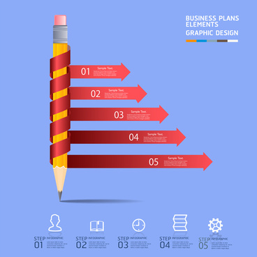 pencil and arrow infographic