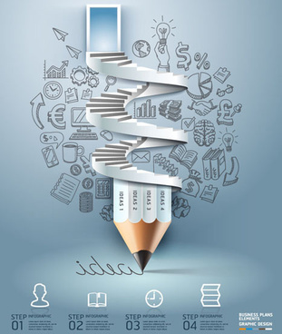 pencil and stairs idea template vector