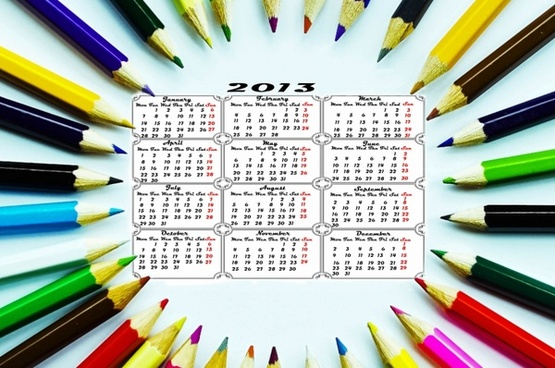pencil calendar 2013