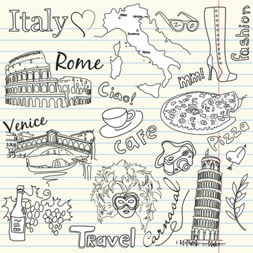 italia design elements landmark icons handdrawn design