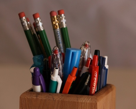 pencils ink pens pencil box