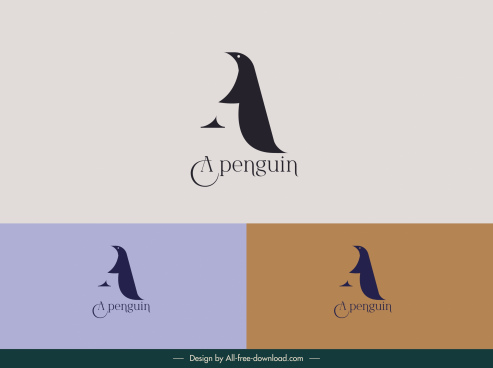 penguin logo template simple flat sketch