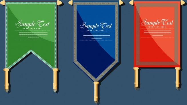 pennant flag templates various colored flat shapes isolation