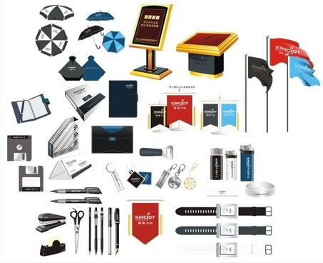 object icons collection modern colored 3d design