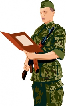 soldier painting colored cartoon sketch 3d design