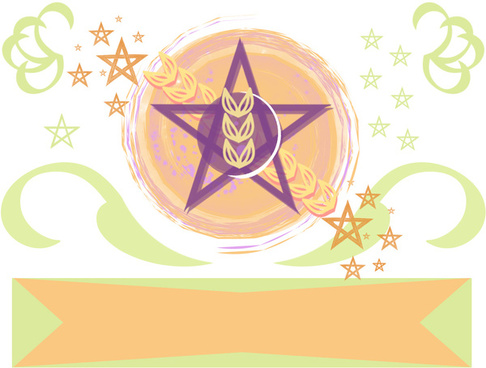 pentacle wheat banner hypster