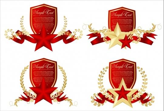 prize design elements shield pentagram wreath decor