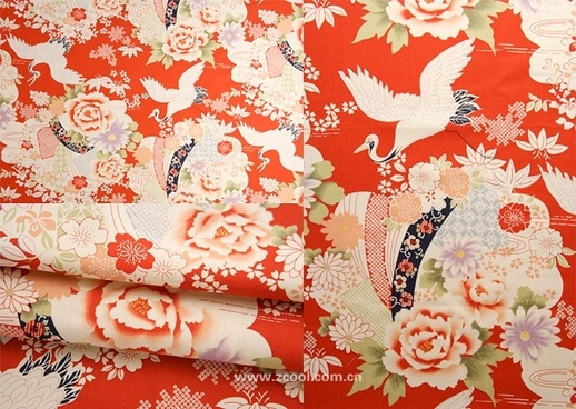 peony chinese crane fabric background hd picture 3p