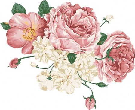 flowers painting peony icons multicolored classical design