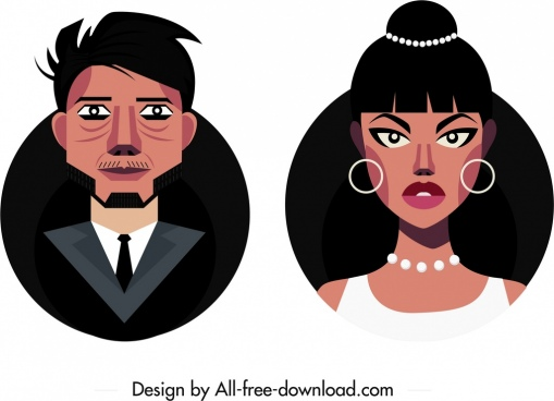 people avatar templates man woman icons cartoon characters