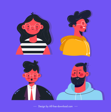 people avatars icons colorful classic sketch