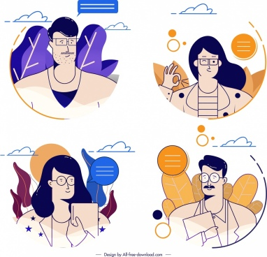 people avatars templates man woman icons cartoon sketch