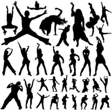 people dance silhouette vector art