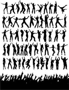 music party design elements silhouette dancers spectators icons