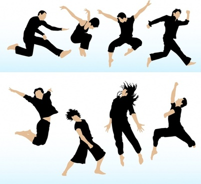 dancing people icons colored modern design