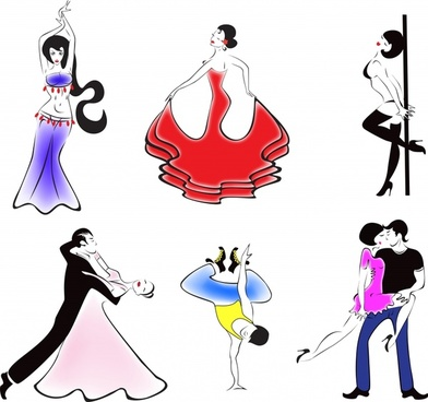 dancers icons colorful dynamic handdrawn cartoon characters