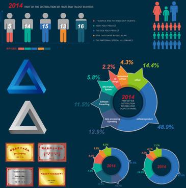 people dark blue infographics vector