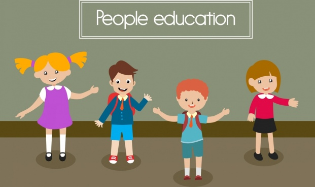people education banner colored cartoon joyful pupils icons