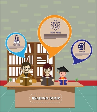 people education theme family reading books design