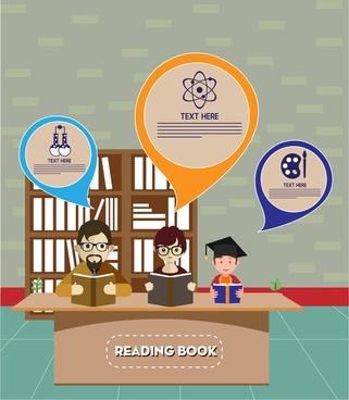 people education theme family reading books design
