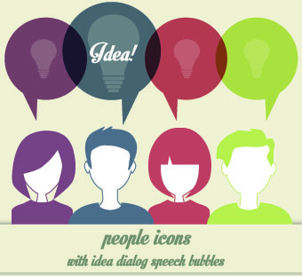 people icons and speech bubbles vector