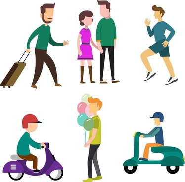 people icons design various activities styles in colors
