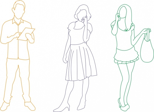 people icons outline colored design style